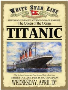 Titanic Advert (date on bottom) Steel Sign  (og 2015)